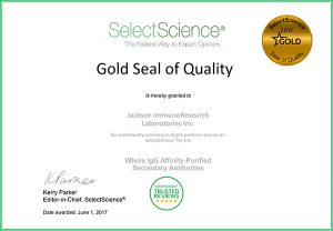 SelectScience® Gold Seal for Quality awarded to JIR